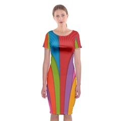 Modern Abstract Colorful Stripes Wallpaper Background Classic Short Sleeve Midi Dress