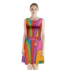 Modern Abstract Colorful Stripes Wallpaper Background Sleeveless Chiffon Waist Tie Dress