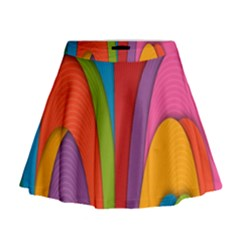 Modern Abstract Colorful Stripes Wallpaper Background Mini Flare Skirt