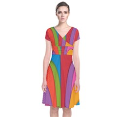 Modern Abstract Colorful Stripes Wallpaper Background Short Sleeve Front Wrap Dress