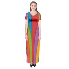 Modern Abstract Colorful Stripes Wallpaper Background Short Sleeve Maxi Dress
