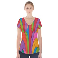 Modern Abstract Colorful Stripes Wallpaper Background Short Sleeve Front Detail Top