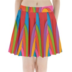 Modern Abstract Colorful Stripes Wallpaper Background Pleated Mini Skirt