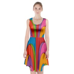 Modern Abstract Colorful Stripes Wallpaper Background Racerback Midi Dress