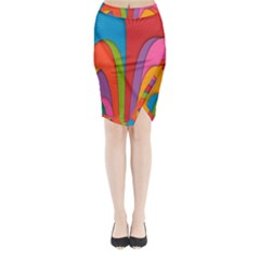 Modern Abstract Colorful Stripes Wallpaper Background Midi Wrap Pencil Skirt