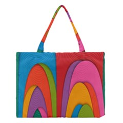 Modern Abstract Colorful Stripes Wallpaper Background Medium Tote Bag