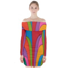 Modern Abstract Colorful Stripes Wallpaper Background Long Sleeve Off Shoulder Dress
