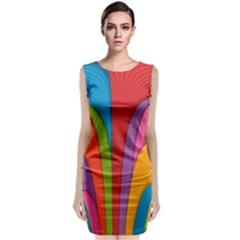 Modern Abstract Colorful Stripes Wallpaper Background Sleeveless Velvet Midi Dress