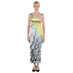 Rainbow Sky Spectrum Rainbow Colors Fitted Maxi Dress