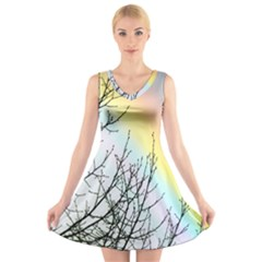 Rainbow Sky Spectrum Rainbow Colors V-Neck Sleeveless Skater Dress