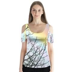 Rainbow Sky Spectrum Rainbow Colors Butterfly Sleeve Cutout Tee