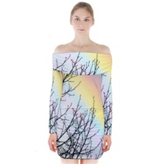 Rainbow Sky Spectrum Rainbow Colors Long Sleeve Off Shoulder Dress