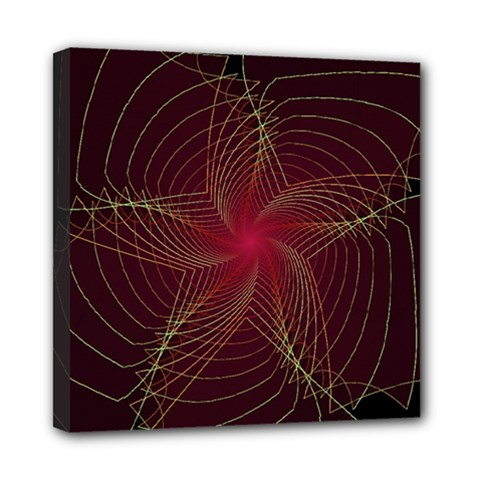 Fractal Red Star Isolated On Black Background Mini Canvas 8  X 8