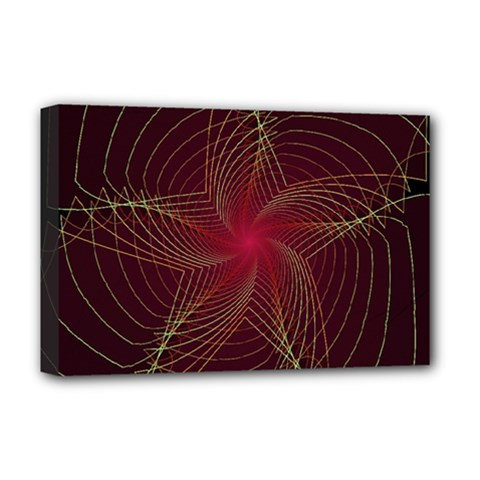 Fractal Red Star Isolated On Black Background Deluxe Canvas 18  X 12