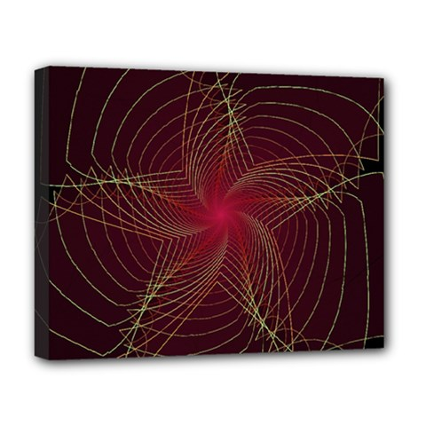 Fractal Red Star Isolated On Black Background Deluxe Canvas 20  x 16