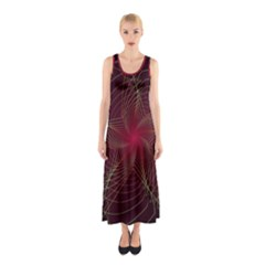Fractal Red Star Isolated On Black Background Sleeveless Maxi Dress
