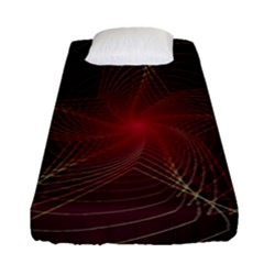 Fractal Red Star Isolated On Black Background Fitted Sheet (single Size)