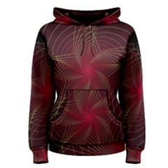 Fractal Red Star Isolated On Black Background Women s Pullover Hoodie