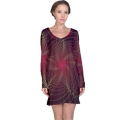 Fractal Red Star Isolated On Black Background Long Sleeve Nightdress
