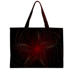 Fractal Red Star Isolated On Black Background Zipper Mini Tote Bag