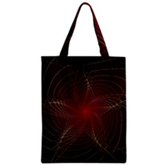 Fractal Red Star Isolated On Black Background Zipper Classic Tote Bag