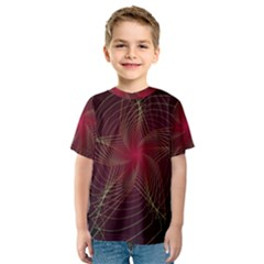 Fractal Red Star Isolated On Black Background Kids  Sport Mesh Tee