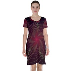Fractal Red Star Isolated On Black Background Short Sleeve Nightdress