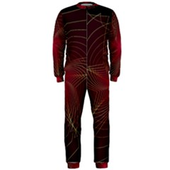 Fractal Red Star Isolated On Black Background Onepiece Jumpsuit (men)