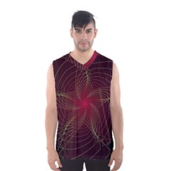 Fractal Red Star Isolated On Black Background Men s Basketball Tank Top