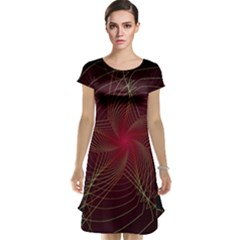 Fractal Red Star Isolated On Black Background Cap Sleeve Nightdress