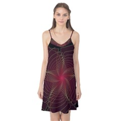 Fractal Red Star Isolated On Black Background Camis Nightgown