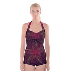 Fractal Red Star Isolated On Black Background Boyleg Halter Swimsuit