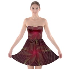 Fractal Red Star Isolated On Black Background Strapless Bra Top Dress