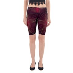 Fractal Red Star Isolated On Black Background Yoga Cropped Leggings
