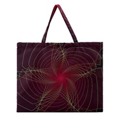 Fractal Red Star Isolated On Black Background Zipper Large Tote Bag