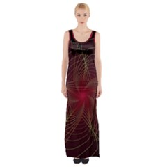 Fractal Red Star Isolated On Black Background Maxi Thigh Split Dress