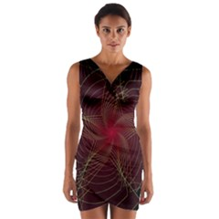 Fractal Red Star Isolated On Black Background Wrap Front Bodycon Dress