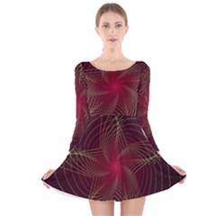 Fractal Red Star Isolated On Black Background Long Sleeve Velvet Skater Dress
