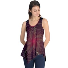 Fractal Red Star Isolated On Black Background Sleeveless Tunic
