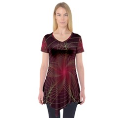 Fractal Red Star Isolated On Black Background Short Sleeve Tunic