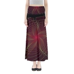 Fractal Red Star Isolated On Black Background Maxi Skirts