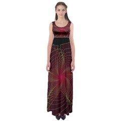 Fractal Red Star Isolated On Black Background Empire Waist Maxi Dress