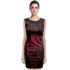 Fractal Red Star Isolated On Black Background Classic Sleeveless Midi Dress