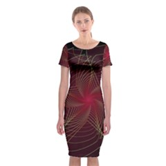 Fractal Red Star Isolated On Black Background Classic Short Sleeve Midi Dress