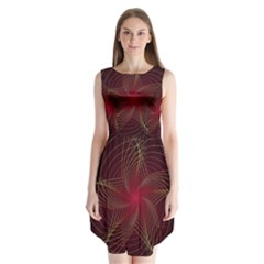 Fractal Red Star Isolated On Black Background Sleeveless Chiffon Dress