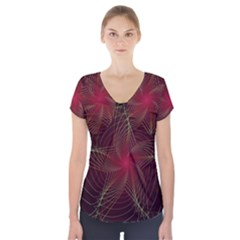 Fractal Red Star Isolated On Black Background Short Sleeve Front Detail Top