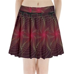 Fractal Red Star Isolated On Black Background Pleated Mini Skirt