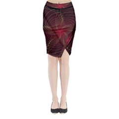 Fractal Red Star Isolated On Black Background Midi Wrap Pencil Skirt