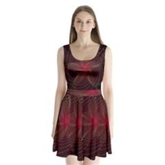 Fractal Red Star Isolated On Black Background Split Back Mini Dress
