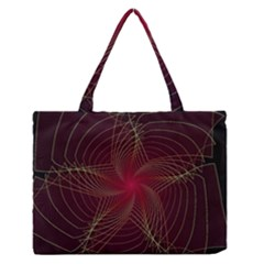 Fractal Red Star Isolated On Black Background Medium Zipper Tote Bag